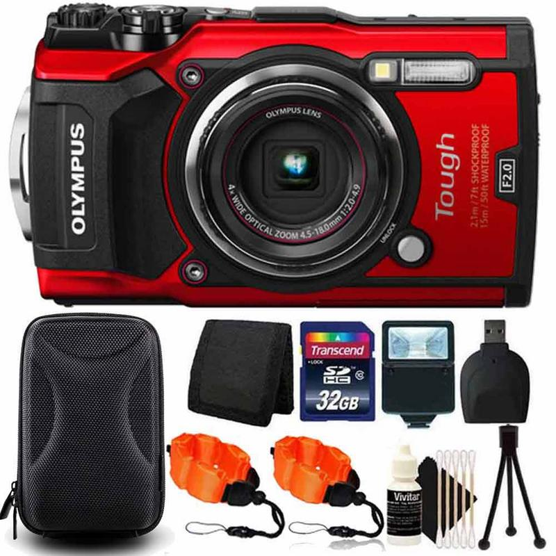 Olympus Tough TG-5 4x Optical Zoom Waterproof Digital Camera Red With 32GB Kit