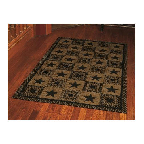 "IHF HOME DECOR Primitive Country Style Star Black Design 20"" X 30"" Rectangle Floor Carpet Braided Are Rug Jute Fiber"