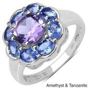 Sterling Silver Amethyst/ Tanzanite or Opal/ Tanzanite Ring Amethyst & Tanzanite Size 7