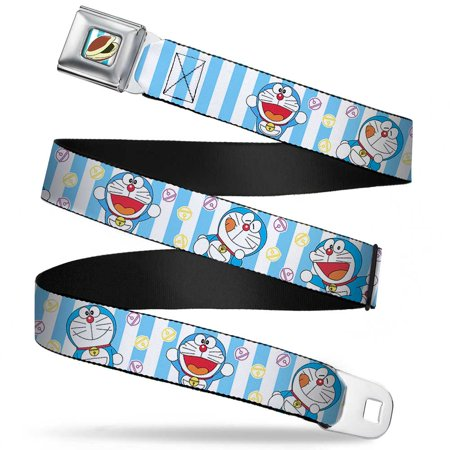 Doraemon Poses/Bells Stripe Blue/White Webbing - Seatbelt Belt Regular