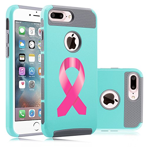 For Apple iPhone (7 Plus) Shockproof Impact Hard Soft Case Cover Breast Cancer Color Awareness Ribbon (Teal-Gray)