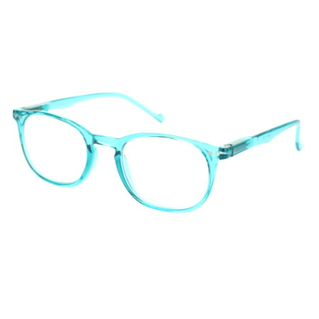 Thin Plastic Keyhole Rectangle Hipster Design Reading Glasses Blue (Huge Hipster Glasses)