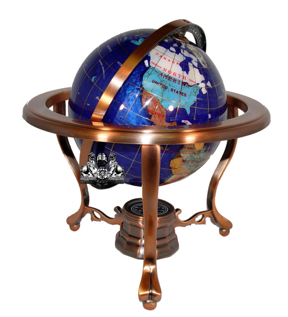 Unique Art 10-Inch Tall Table Top Blue Pearl Swirl Ocean Gemstone World Globe with Copper Tripod Stand
