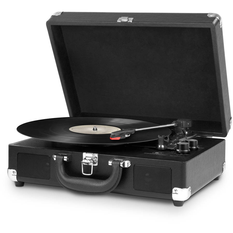 Innovative Technology Bluetooth Suitcase Turntable, Black