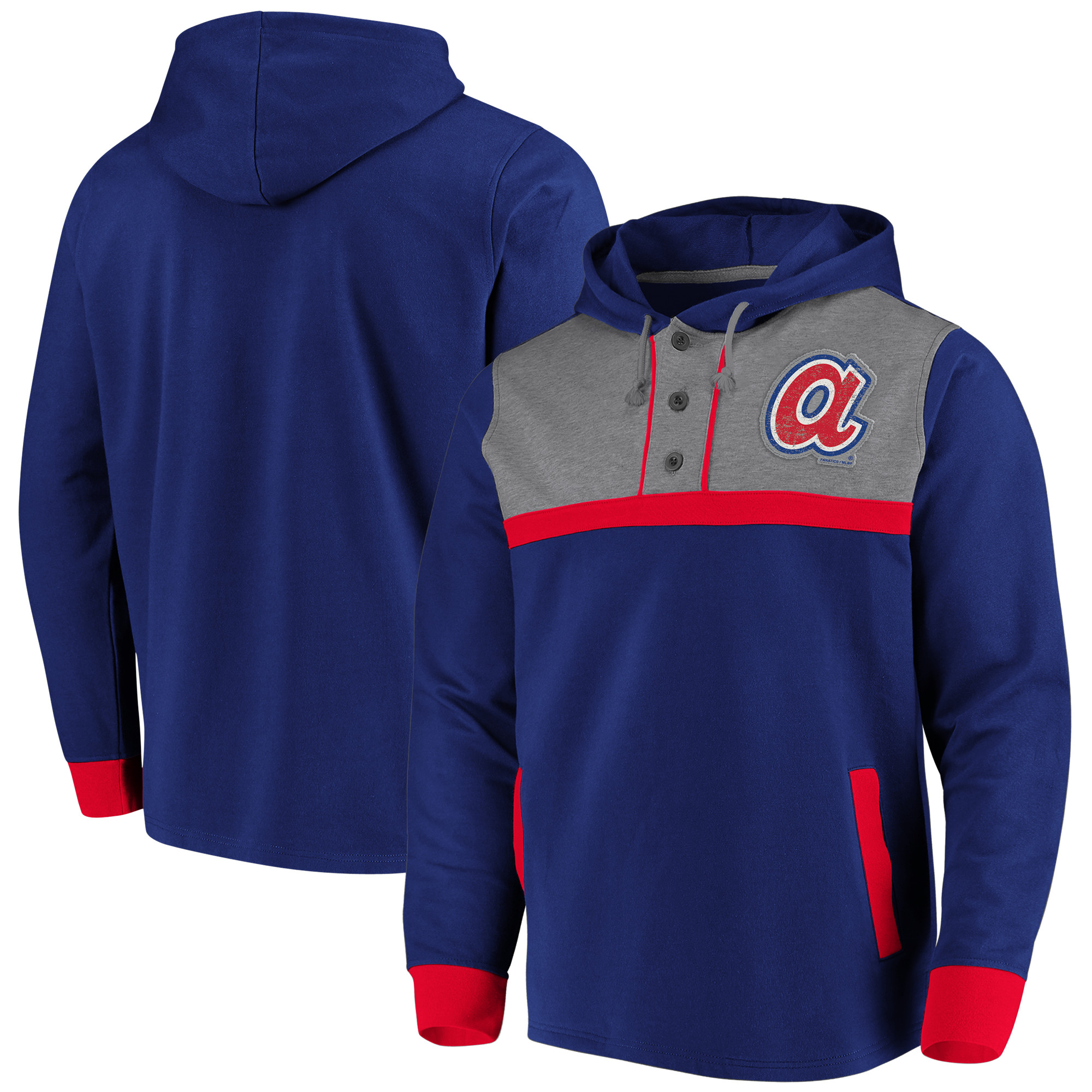 Atlanta Braves Fanatics Branded True Classics Button-Up Henley Pullover Hoodie - Navy/Heathered Gray