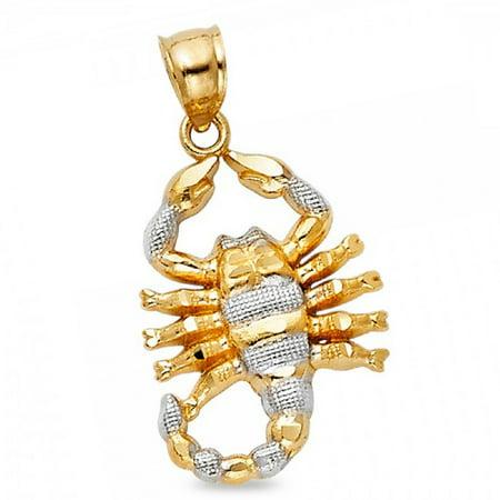 Scorpion Pendant Solid 14k Yellow White Gold Zodiac Sign Scorpio Charm Genuine Two Tone 21 x 15
