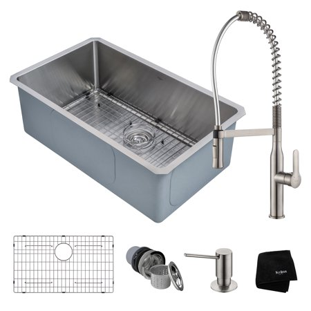 KRAUS Kitchen Combo with Handmade Undermount Stainless Steel 30 in. Single Bowl 16 Gauge Kitchen Sink and Nola? Commercial Kitchen Faucet with Soap Dispenser in Stainless Steel
