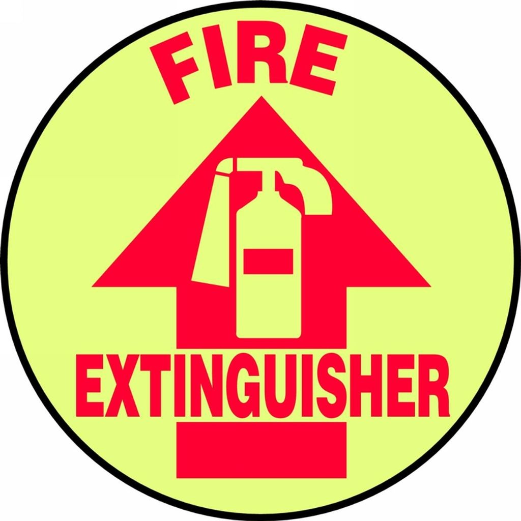 """Accuform MFS882 Floor Signs & Tapes Floor Signs FIRE EXTINGUISHER (W/ GRAPHIC) (GLOW) 8"""" Lumi-Glow Flex"""