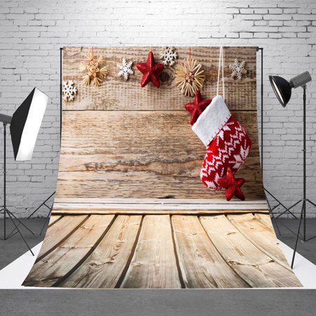 NK 5x7ft Christmas Backdrop Indoor Christmas Tree Backdrops Wood Floor with Christmas Socks Photography Background for Xmas Party Decoration Studio Props
