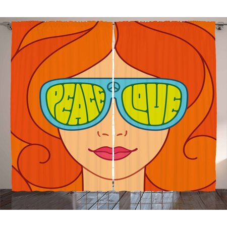 70s Party Decorations Curtains 2 Panels Set, Red Hair Girl with Sunglasses Retro Typography Hippie Love and Peace, Window Drapes for Living Room Bedroom, 108W X 84L Inches, Multicolor, by Ambesonne