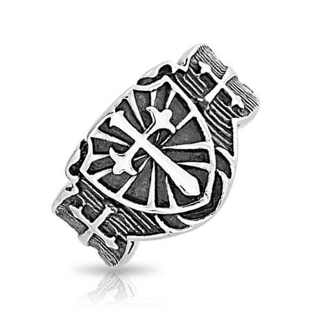 Mens Religious Viking Shield Maltase Fleur De Lis Cross Signet Band Ring For Men Oxidized Silver Tone Stainless - Fleur De Lis Band Ring