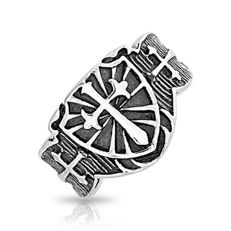 Oxidized Mens Cross Ring (Mens Religious Viking Shield Maltase Fleur De Lis Cross Signet Band Ring For Men Oxidized Silver Tone Stainless)