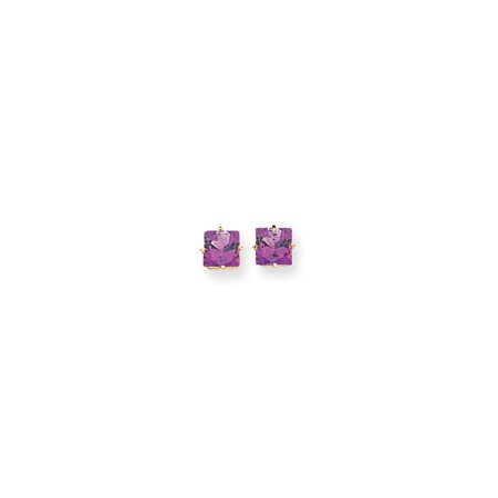 14k Yellow Gold 6mm Princess Cut Purple Amethyst Post Stud Ball Button Earrings Gemstone Fine Jewelry For Women Gift Set