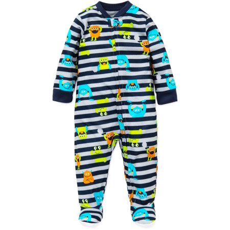 73ccf34d54 Little Me Baby Boys Monster Zip Footie Pajamas Footed Sleeper Navy Stripe  18M For Infant Boys Sleep N Play One Piece Romper Coverall Infant Footed  Sleeper  ...