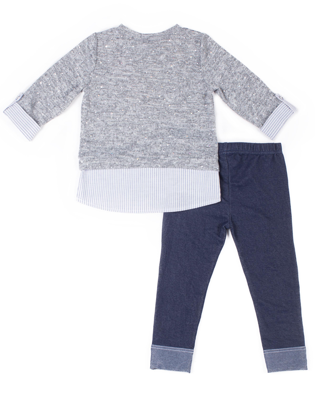 Little Lass - Little Lass Disco Dot Layered Sweater & Knit Denim ...
