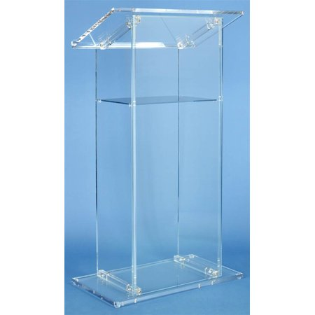 Traditional Lectern in Clear Acrylic w Shelf
