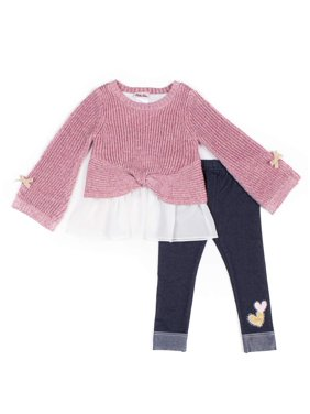 Little Lass Rainbow Knit Chiffon Sweater and Knit Denim Leggings, 3pc Outfit Set (Baby Girls & Toddler Girls)