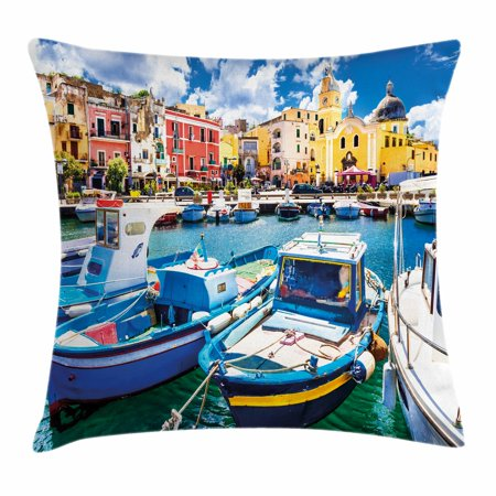 Italy Throw Pillow Cushion Cover, Colorful Procida Island with Fishing Boats Summertime Tourism Vacation Travel Theme, Decorative Square Accent Pillow Case, 16 X 16 Inches, Multicolor, by Ambesonne