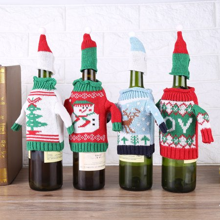 Christmas Cute Pattern Knitted Wine Bottle Sweater Cover For Dinner Table Decor