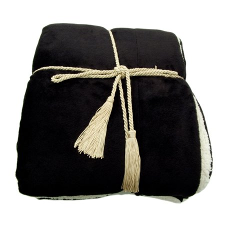 Reversible Luxury Soft Faux Fur Lambswool Cashmere Blankets Throw Black