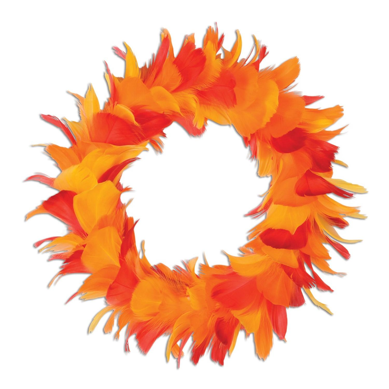 """Pack of 6 Yellow Red and Orange Autumn Party Decorative Feather Wreath 8"""""""