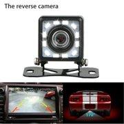 Rotating Car Reversing Waterproof Rearview Mirror 170°Camera Car Rear View Backup Camera Parking Reverse Back Up Camera Waterproof CMOS 12LED