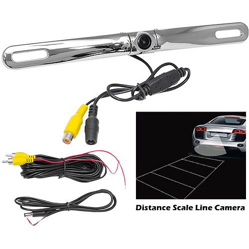 Pyle PLCM18SC License Plate Mount Rearview Backup Color Camera, Silver Chrome