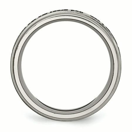 Titanium Ridged Edge 8mm Laser Design Brushed & Polished Band Ring 9 Size - image 1 of 7