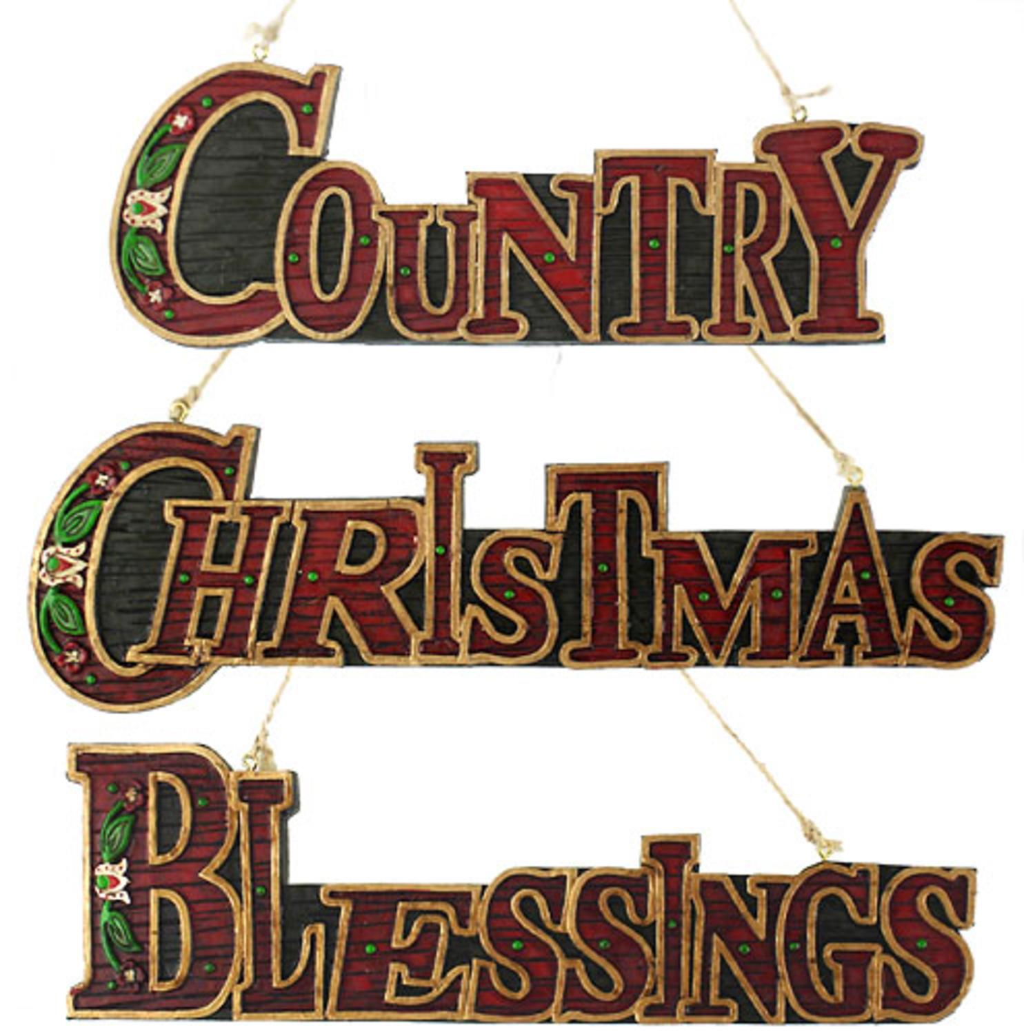 Set of 3 Christmas, Country & Blessings Sign Holiday Ornaments