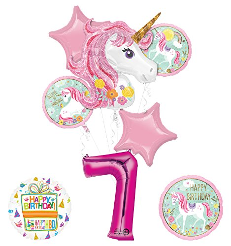 "Unicorn Party Supplies ""Believe In Unicorns"" 7th Birthday Balloon Bouquet Decorations"