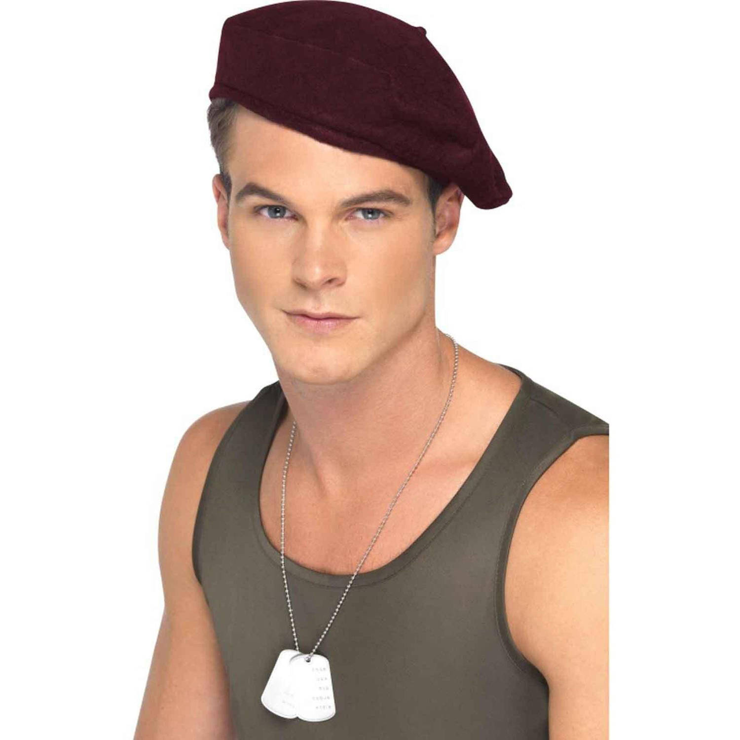 Red Soldiers Beret Halloween Accessory, Adult