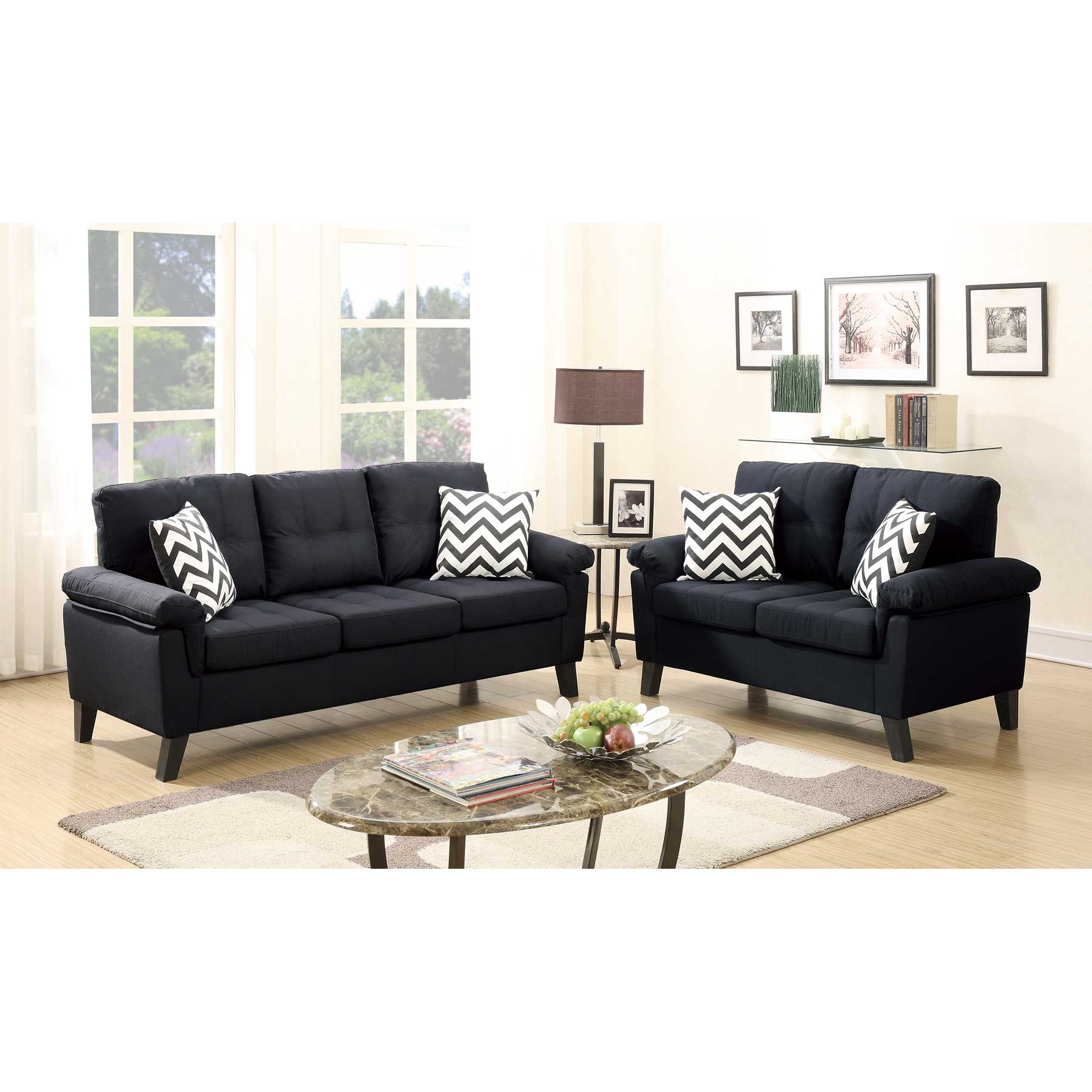 Black Polyfiber 2-Pcs Sofa Loveseat Set