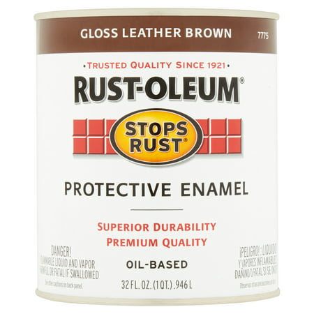 Rust-Oleum Stops Rust Gloss Leather Brown Oil-Based Protective Enamel, 32 fl oz