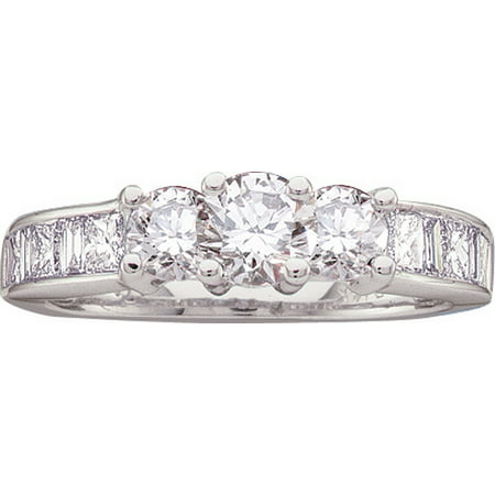 Size - 7 - Solid 14k White Gold Round Princess Cut Baguette White Diamond Engagement Ring OR Fashion Band Channel Set 3 Stone Shaped Past Present Future Ring (1.5 (6 Diamond Baguette Stone Ring)