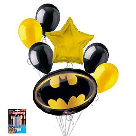 7 pc Batman Emblem Balloon Bouquet Party Decoration Happy Birthday Super Hero5 - 12 Mixed Latex Balloons (2 Goldenrod, 3 Black) By Jeckaroonie Balloons - Batman Balloon