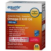 Equate Antarctic Pure Omega-3 3 Krill Oil 350 mg, 65 ct Softgels
