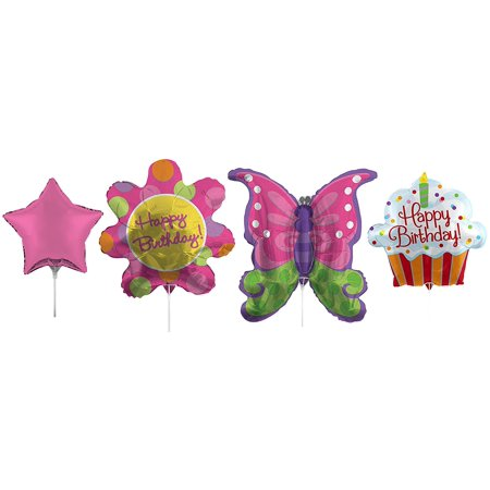 Party Girl Butterfly Birthday Set Foil Air Filled Balloons! Helium Free