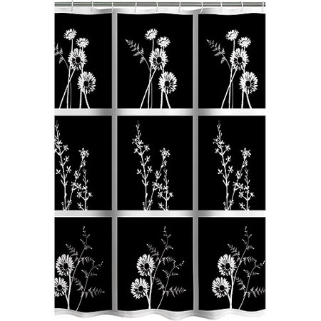 Allure Home Creations Exposed Floral Shower Curtain Blackwhite