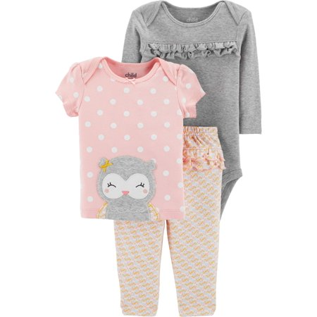 Long Sleeve Bodysuit, T-Shirt & Pants, 3pc Outfit Set (Baby Girls) (Baby Girl Owl)