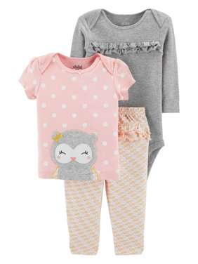 9e43cef6a Product Image Child Of Mine By Carter's Long Sleeve Bodysuit, T-Shirt &  Pants, 3pc