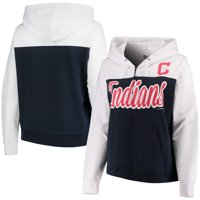 Cleveland Indians 5th & Ocean by New Era Women's Plus Size French Terry Color Block Full-Zip Hoodie - Navy/White
