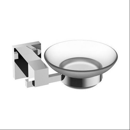 Eviva Panera Frosted Glass Soap Dish  Holds As A Wall Mount  Chrome   Bathroom Soap Holders