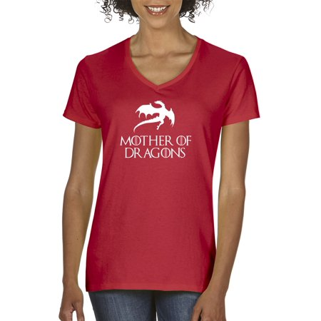 New Way 691 - Women's V-Neck T-Shirt Mother Of Dragons Game Of Thrones (Game Of Thrones Mother Of Dragons Ladies Wallet)