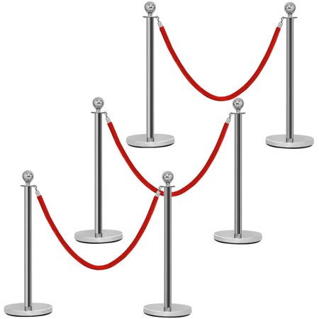 Costway 6Pcs Stanchion Posts Queue Pole Retractable 3 Velvet Ropes Crowd Control Barrier