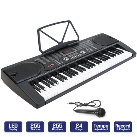 61-Key Electronic Piano Keyboard with LCD Display and Microphone - Portable -