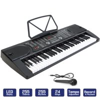 61-Key Electronic Piano Keyboard w/ LCD Display and Microphone - Portable - Black