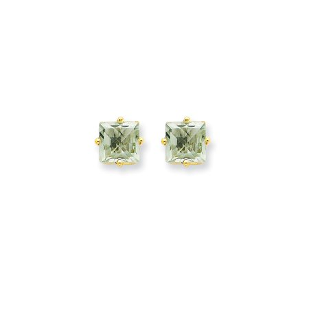 - 14k Yellow Gold 6mm Square Green Quartz Post Stud Ball Button Earrings Gemstone Fine Jewelry For Women Gift Set