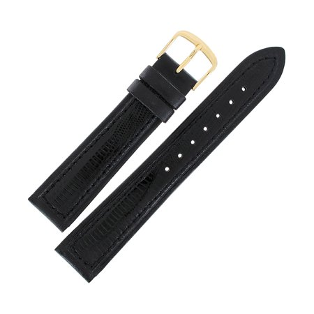 Hadley Roma MS807 20mm Mens Black Stitched Genuine Teju Lizard Watch Strap