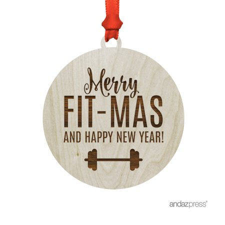 Funny Laser Engraved Wood Christmas Ornament with Gift Bag, Merry Fit-mas and a Happy New Year, Dumbell