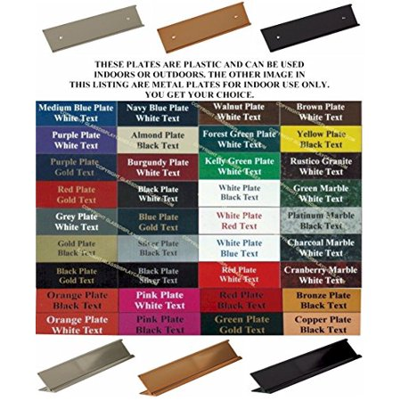 Office Desk Name Plate Wall / Door Sign 10x2 - 60 Color Choices with Slide In Stand - Holder. Mounting Hardware Included ()